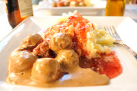 Swedish meatballs mashed potatoes and strawberry jam.